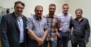 D. José María Rodríguez, socio de Rusbáltika, junto con los representantes de uno de los principales fabricantes españoles de ascensores y el personal directivo de un gran holding de la construcción en Bielorrusia.